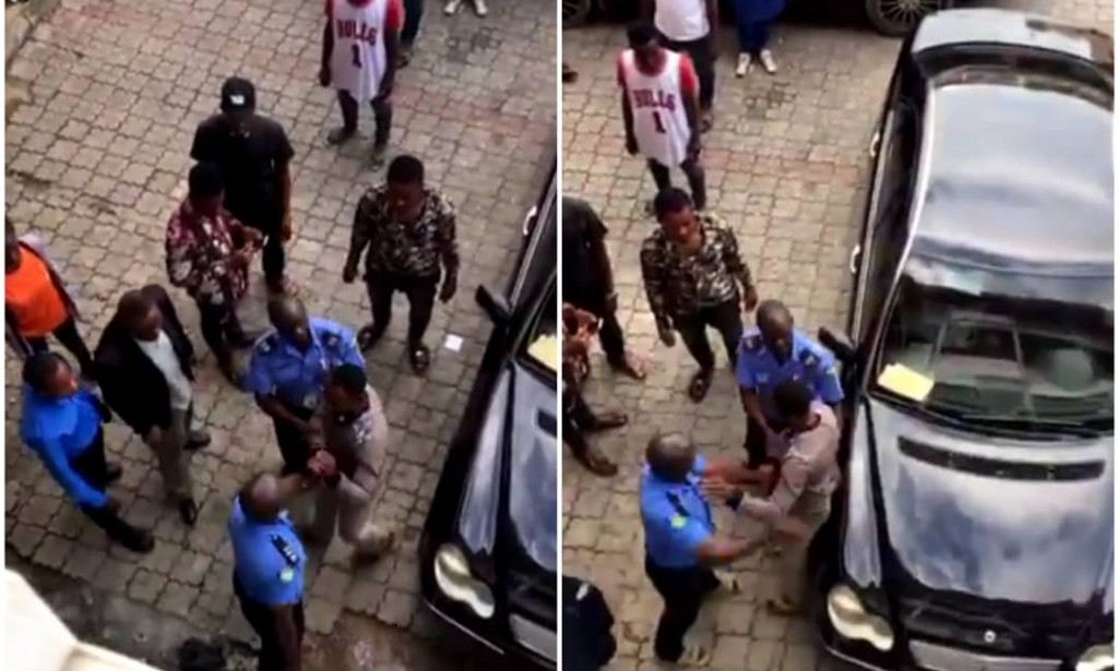 Police Officers Caught Unleashing Slaps To A Nigerian Man (Video)
